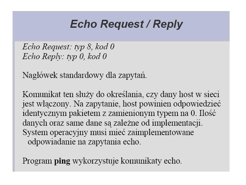 Działanie polecenia PING Jeśli adresat odbierze żądanie echa ICMP, utworzy odpowiedź (echo reply) w celu wysłania jej z powrotem do nadawcy.