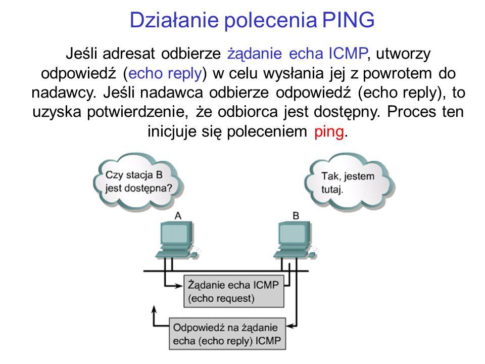 Działanie polecenia PING Jeśli adresat odbierze żądanie echa ICMP, utworzy odpowiedź (echo reply) w celu wysłania jej z powrotem do nadawcy. Jeśli nad