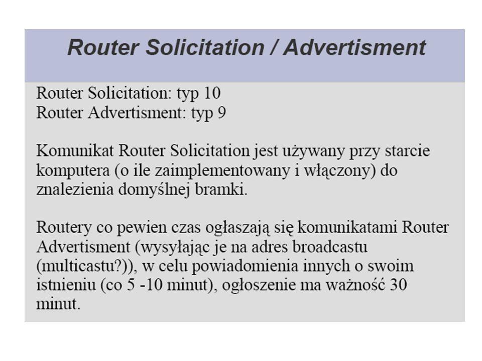Komunikaty wykrywania routera Po uruchomieniu hosta, dla którego nie skonfigurowano bramy domyślnej, może on zdobyć informacje o routerach przy użyciu procesu wykrywania routera.