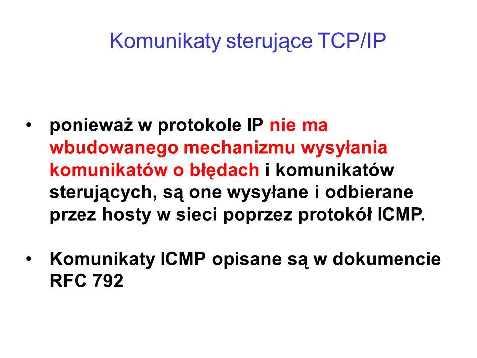 Komunikaty sterujące TCP/IP ponieważ w protokole IP nie ma wbudowanego mechanizmu wysyłania komunikatów o błędach i komunikatów sterujących, są one wy