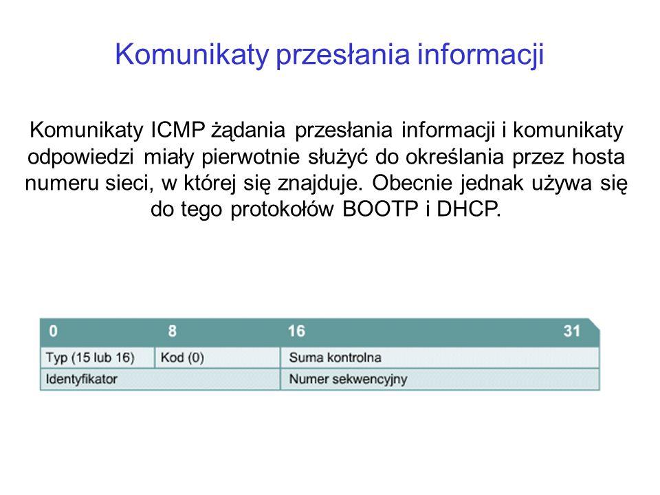 Komunikaty przesłania informacji Komunikaty ICMP żądania przesłania informacji i komunikaty odpowiedzi miały pierwotnie służyć do określania przez hos