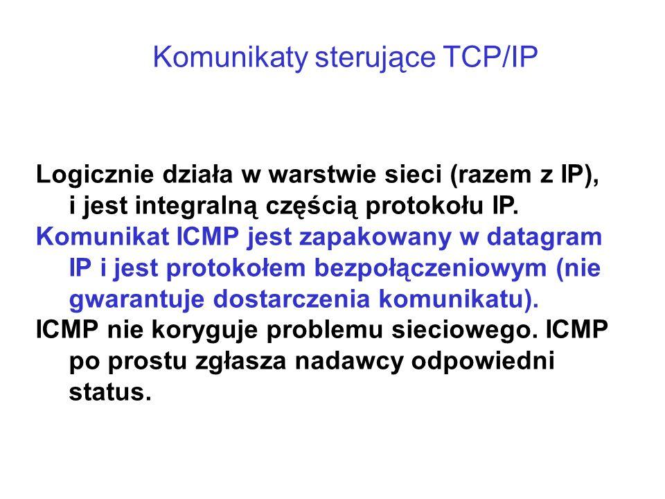Komunikaty sterujące TCP/IP Logicznie działa w warstwie sieci (razem z IP), i jest integralną częścią protokołu IP. Komunikat ICMP jest zapakowany w d