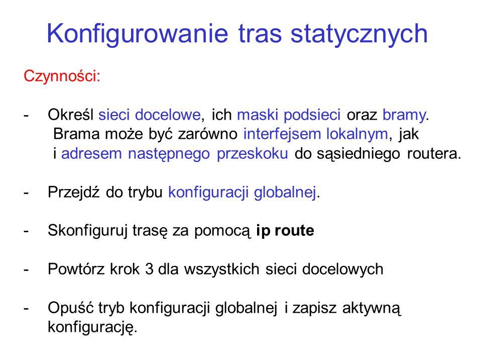 Konfigurowanie tras statycznych ip route dokonuje statycznego wpisu w tablicy routingu.