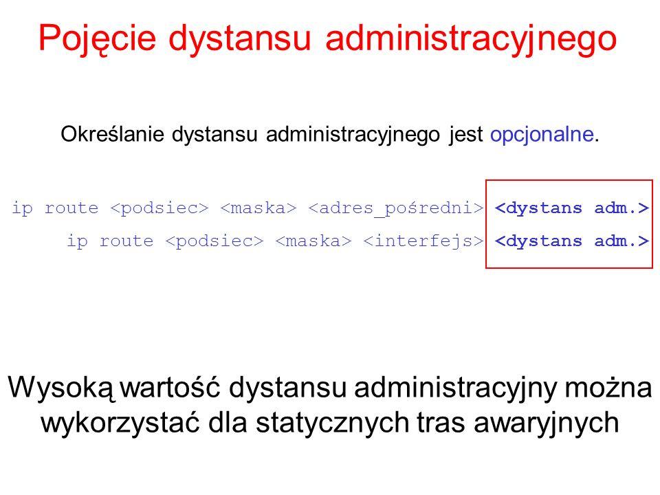 Pojęcie dystansu administracyjnego Określanie dystansu administracyjnego jest opcjonalne. ip route Wysoką wartość dystansu administracyjny można wykor