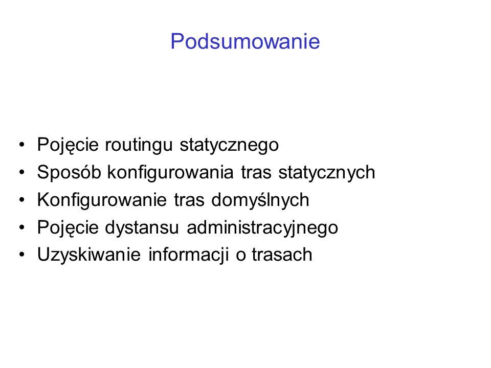 Podsumowanie Pojęcie routingu statycznego Sposób konfigurowania tras statycznych Konfigurowanie tras domyślnych Pojęcie dystansu administracyjnego Uzy