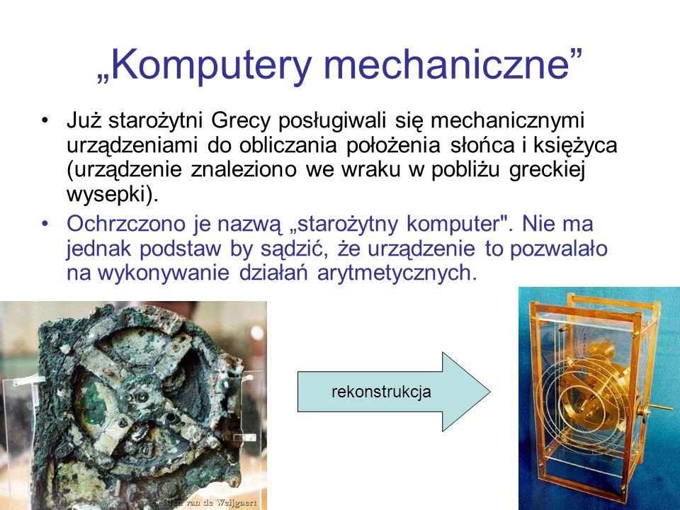 Komputery mechaniczne Już starożytni Grecy posługiwali się mechanicznymi urządzeniami do obliczania położenia słońca i księżyca (urządzenie znaleziono