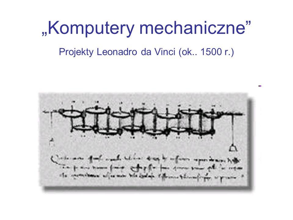 Komputery mechaniczne Projekty Leonadro da Vinci (ok.. 1500 r.)