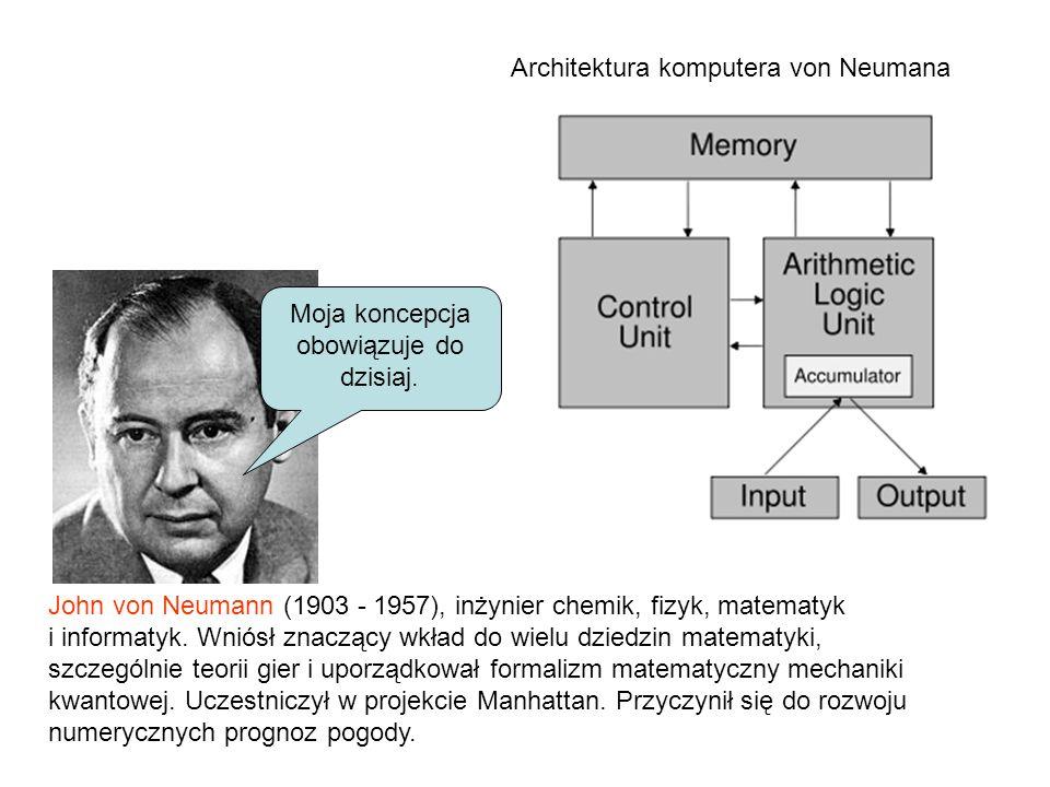 John von Neumann (1903 - 1957), inżynier chemik, fizyk, matematyk i informatyk. Wniósł znaczący wkład do wielu dziedzin matematyki, szczególnie teorii