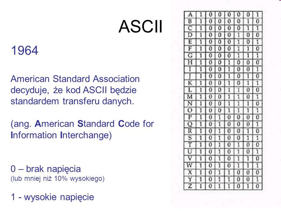 ASCII 1964 American Standard Association decyduje, że kod ASCII będzie standardem transferu danych. (ang. American Standard Code for Information Inter