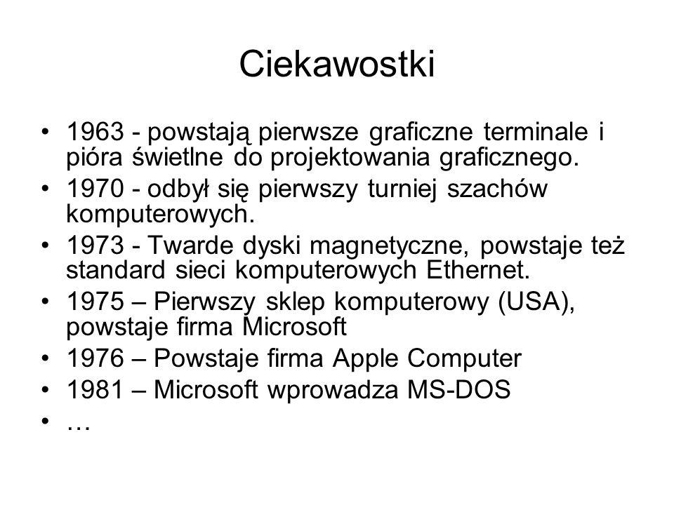 Ciekawostki 1963 - powstają pierwsze graficzne terminale i pióra świetlne do projektowania graficznego. 1970 - odbył się pierwszy turniej szachów komp
