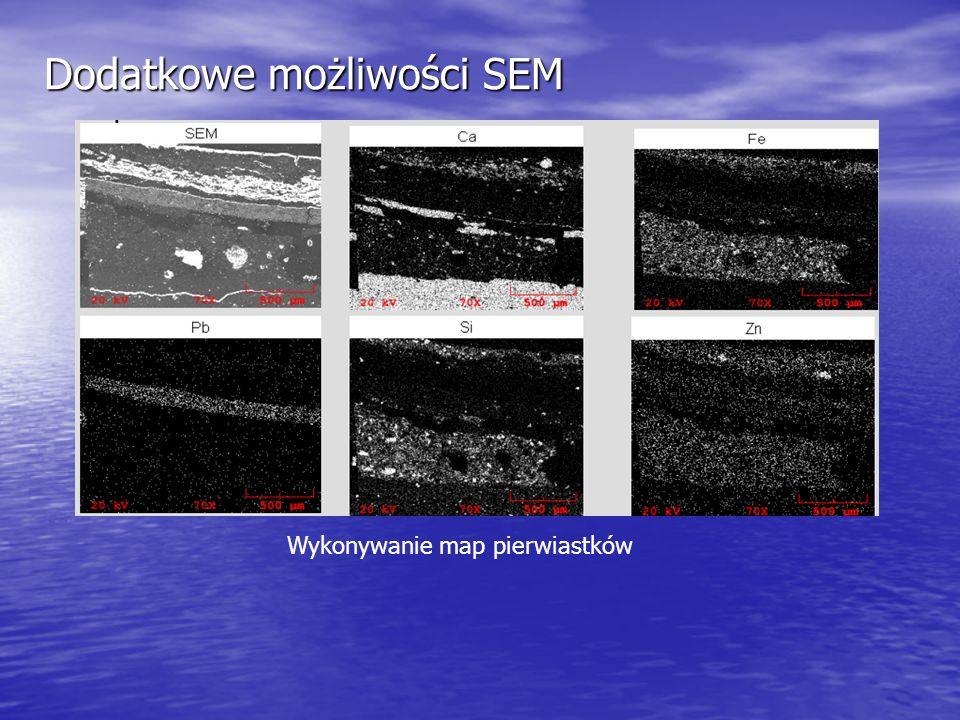 Dodatkowe możliwości SEM Wykonywanie map pierwiastków
