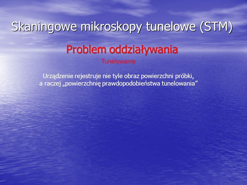 Skaningowe mikroskopy tunelowe (STM) Tunelowanie Urządzenie rejestruje nie tyle obraz powierzchni próbki, a raczej powierzchnię prawdopodobieństwa tun