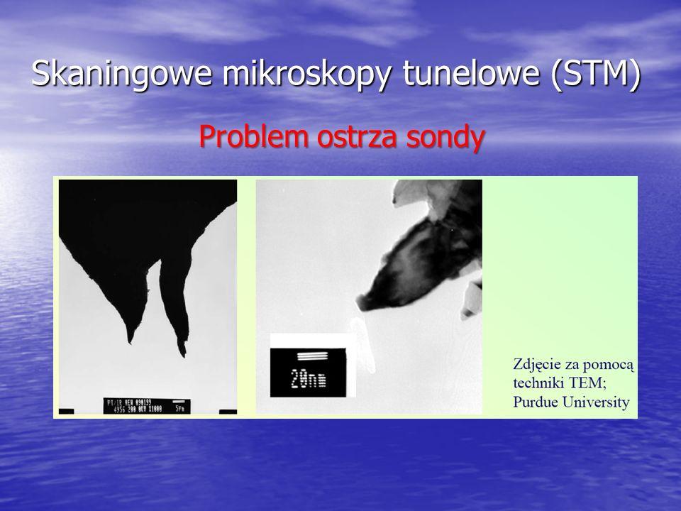 Skaningowe mikroskopy tunelowe (STM) Problem ostrza sondy