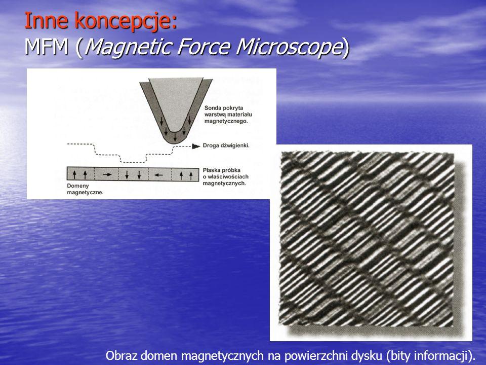 Inne koncepcje: MFM (Magnetic Force Microscope) Obraz domen magnetycznych na powierzchni dysku (bity informacji).