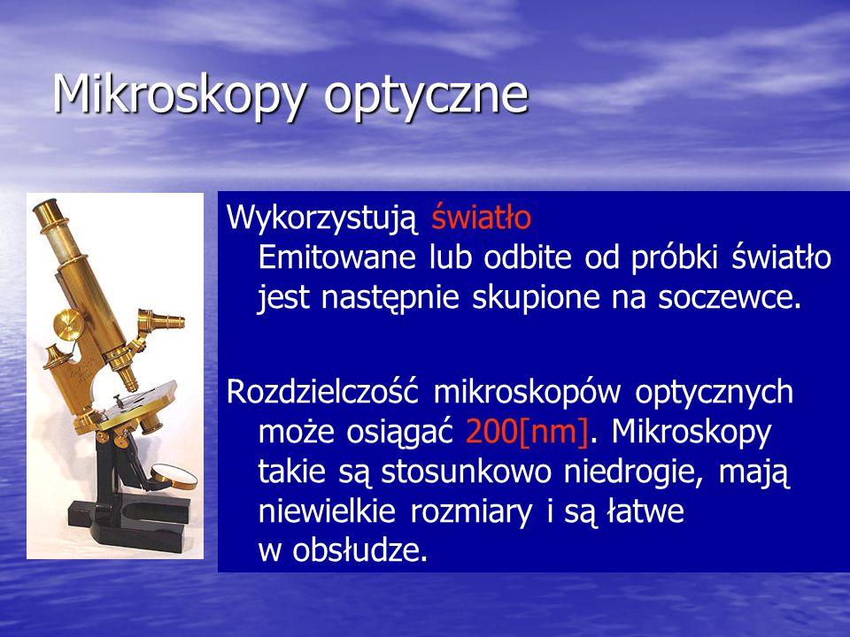 Mikroskopy optyczne Wykorzystują światło Emitowane lub odbite od próbki światło jest następnie skupione na soczewce. Rozdzielczość mikroskopów optyczn