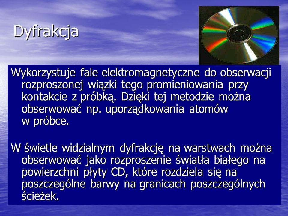 Dyfrakcja Wykorzystuje fale elektromagnetyczne do obserwacji rozproszonej wiązki tego promieniowania przy kontakcie z próbką. Dzięki tej metodzie możn