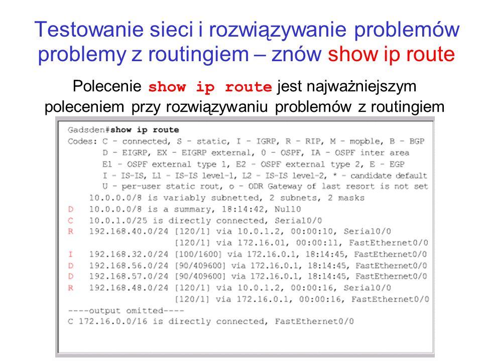 Testowanie sieci i rozwiązywanie problemów problemy z routingiem – znów show ip route Polecenie show ip route jest najważniejszym poleceniem przy rozw