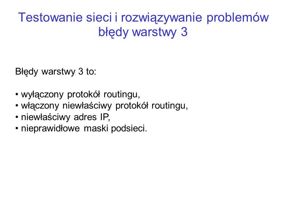 Testowanie sieci i rozwiązywanie problemów błędy warstwy 3 Błędy warstwy 3 to: wyłączony protokół routingu, włączony niewłaściwy protokół routingu, ni