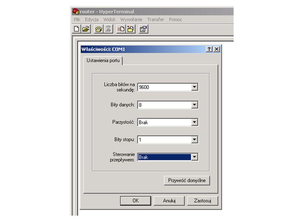 Proste połączenie z Internetem Wybór ISP i rodzaju łącza, zebranie informacji Konfigurowanie połączenia Należy zebrać informacje: Adres IP portu szeregowego i maska – Najczęściej będą to adresy z maską 255.255.255.252 Identyfikator łącza (potrzebny w czasie awarii do identyfikacji łącza) Enkapsulacja łącza szeregowego; Zakres publicznych adresów IP; Dlaczego?