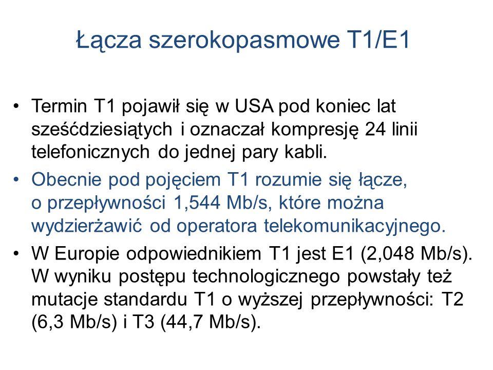 Łącza szerokopasmowe T1/E1 Termin T1 pojawił się w USA pod koniec lat sześćdziesiątych i oznaczał kompresję 24 linii telefonicznych do jednej pary kab