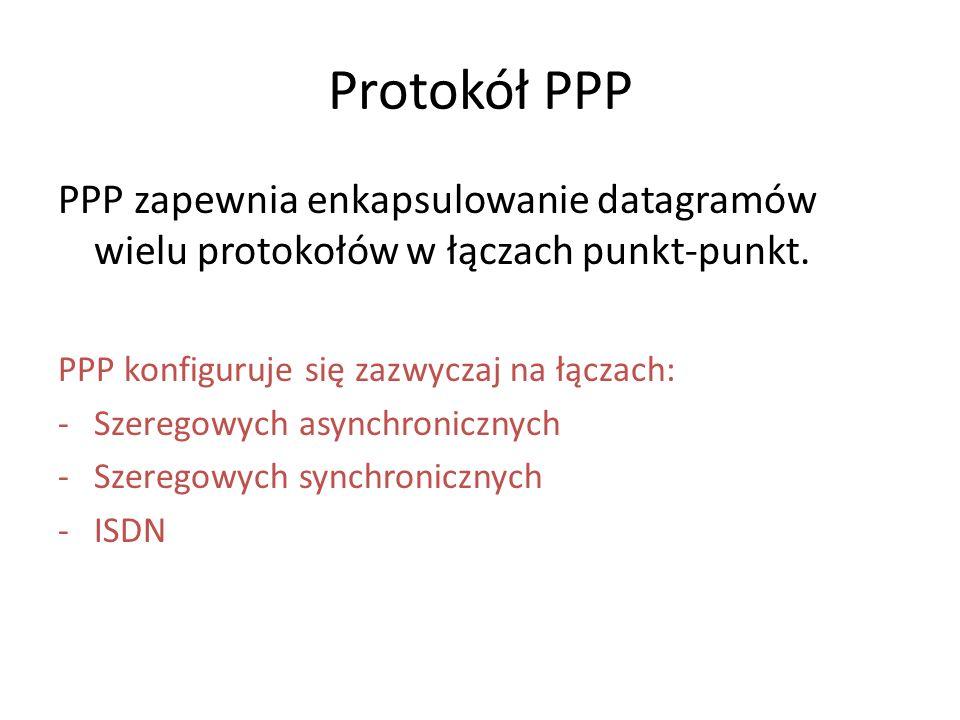 Protokół PPP PPP zapewnia enkapsulowanie datagramów wielu protokołów w łączach punkt-punkt. PPP konfiguruje się zazwyczaj na łączach: -Szeregowych asy