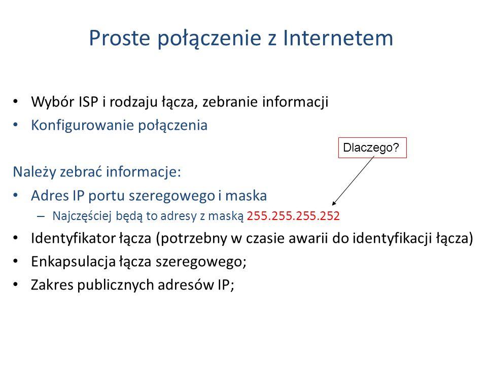 Proste połączenie z Internetem Wybór ISP i rodzaju łącza, zebranie informacji Konfigurowanie połączenia Należy zebrać informacje: Adres IP portu szere