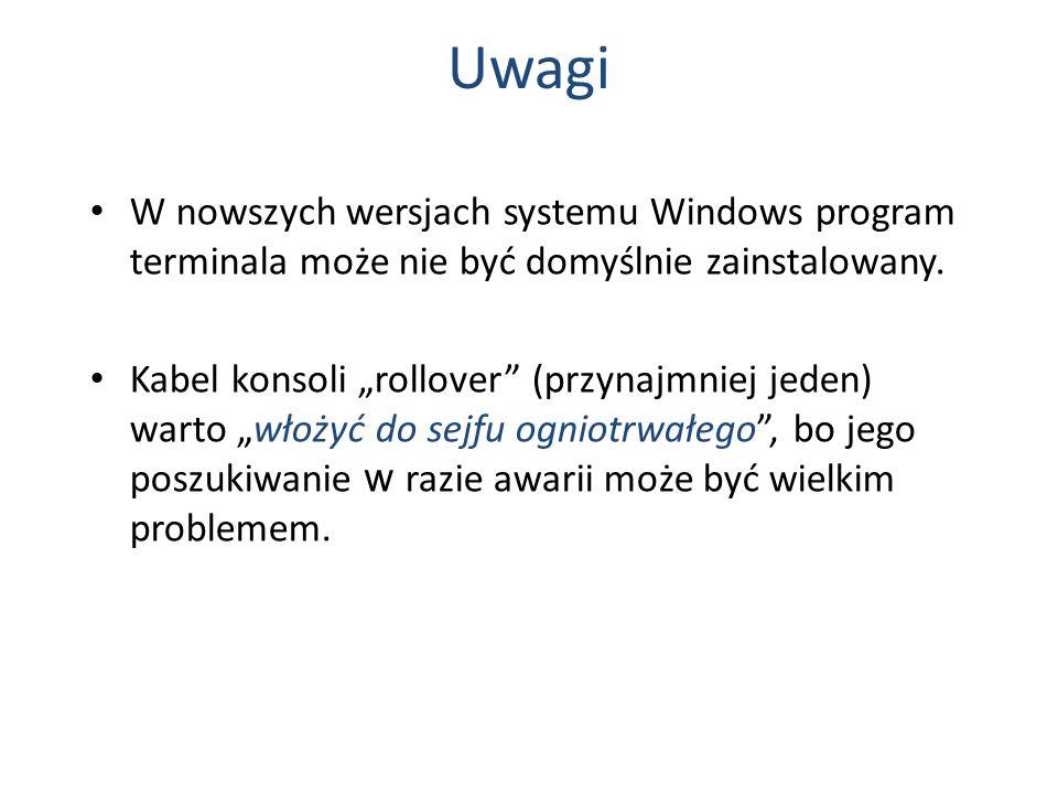 Uwagi W nowszych wersjach systemu Windows program terminala może nie być domyślnie zainstalowany. Kabel konsoli rollover (przynajmniej jeden) warto wł