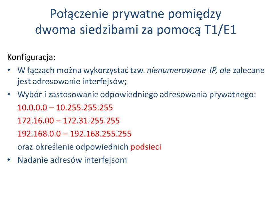 Połączenie prywatne pomiędzy dwoma siedzibami za pomocą T1/E1 Konfiguracja: W łączach można wykorzystać tzw. nienumerowane IP, ale zalecane jest adres
