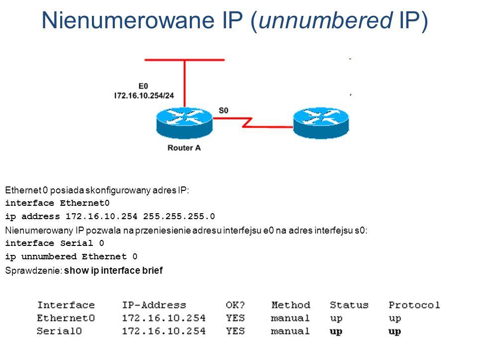 Nienumerowane IP (unnumbered IP) Ethernet 0 posiada skonfigurowany adres IP: interface Ethernet0 ip address 172.16.10.254 255.255.255.0 Nienumerowany