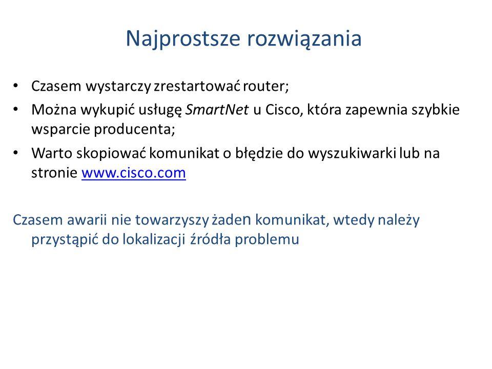 Najprostsze rozwiązania Czasem wystarczy zrestartować router; Można wykupić usługę SmartNet u Cisco, która zapewnia szybkie wsparcie producenta; Warto