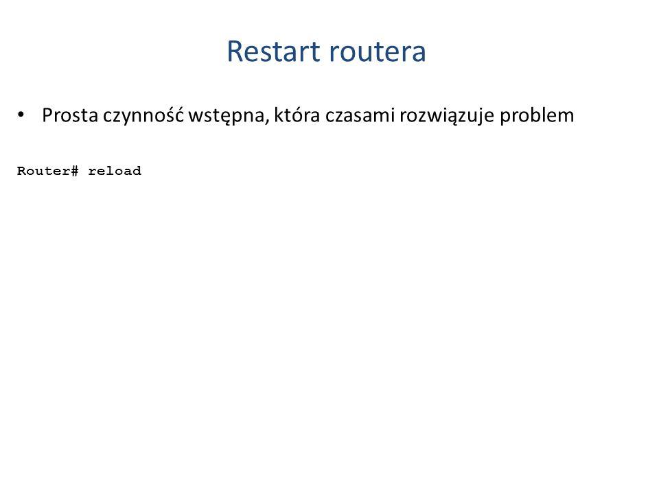 Restart routera Prosta czynność wstępna, która czasami rozwiązuje problem Router# reload
