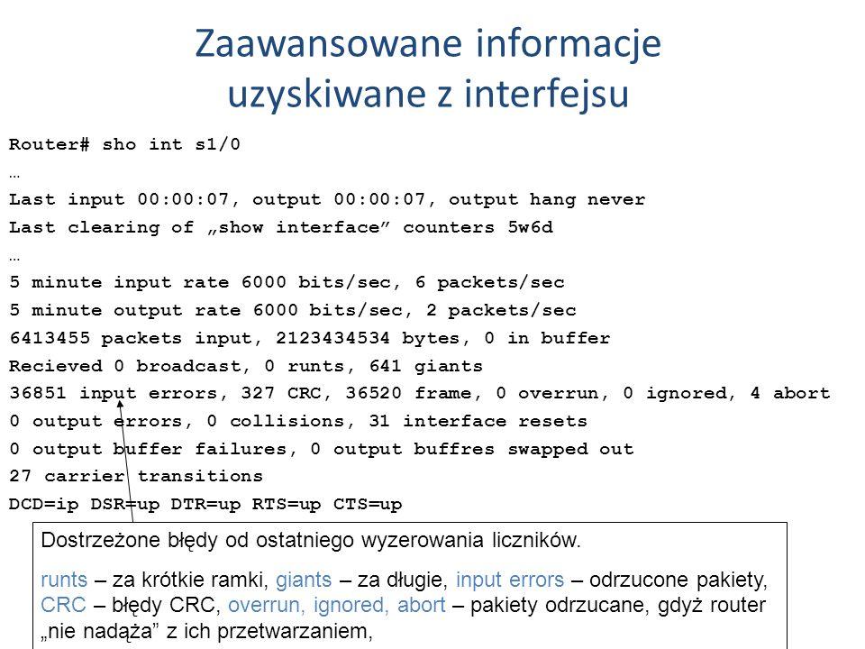 Zaawansowane informacje uzyskiwane z interfejsu Router# sho int s1/0 … Last input 00:00:07, output 00:00:07, output hang never Last clearing of show i
