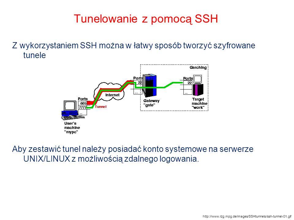 Tunelowanie z pomocą SSH Z wykorzystaniem SSH można w łatwy sposób tworzyć szyfrowane tunele Aby zestawić tunel należy posiadać konto systemowe na ser