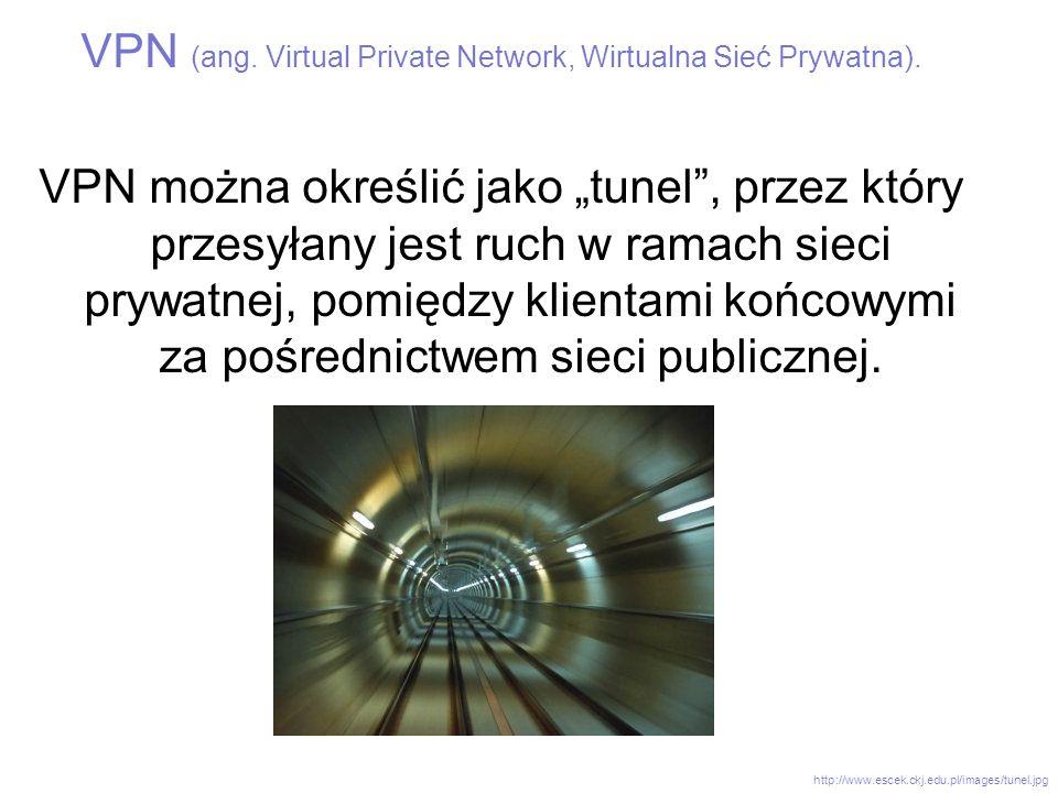VPN (ang. Virtual Private Network, Wirtualna Sieć Prywatna). VPN można określić jako tunel, przez który przesyłany jest ruch w ramach sieci prywatnej,