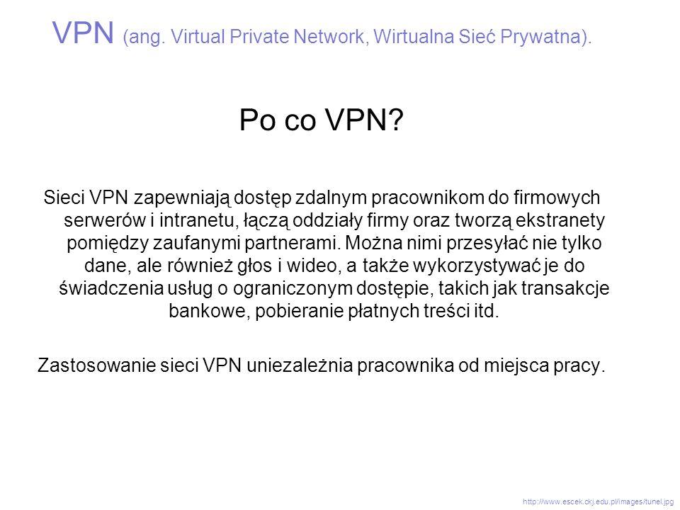 VPN (ang. Virtual Private Network, Wirtualna Sieć Prywatna). Po co VPN? Sieci VPN zapewniają dostęp zdalnym pracownikom do firmowych serwerów i intran