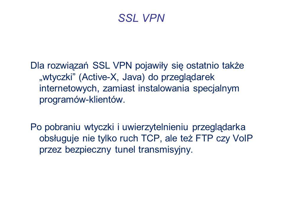 SSL VPN Dla rozwiązań SSL VPN pojawiły się ostatnio także wtyczki (Active-X, Java) do przeglądarek internetowych, zamiast instalowania specjalnym prog