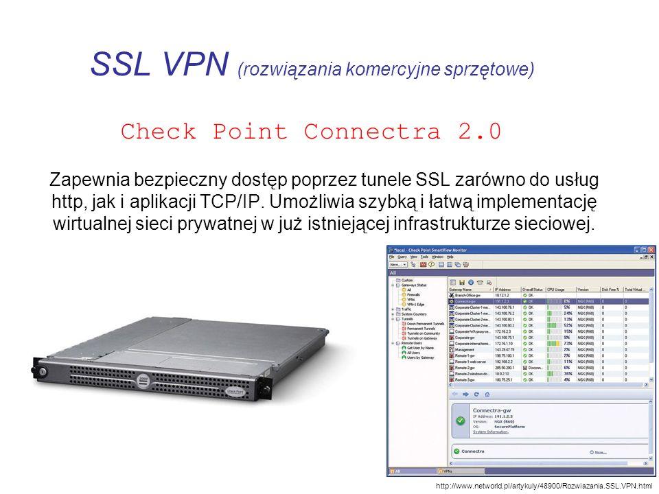 SSL VPN (rozwiązania komercyjne sprzętowe) Check Point Connectra 2.0 Zapewnia bezpieczny dostęp poprzez tunele SSL zarówno do usług http, jak i aplika