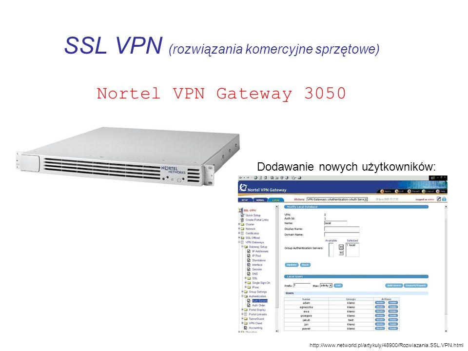 SSL VPN (rozwiązania komercyjne sprzętowe) Nortel VPN Gateway 3050 http://www.networld.pl/artykuly/48900/Rozwiazania.SSL.VPN.html Dodawanie nowych uży