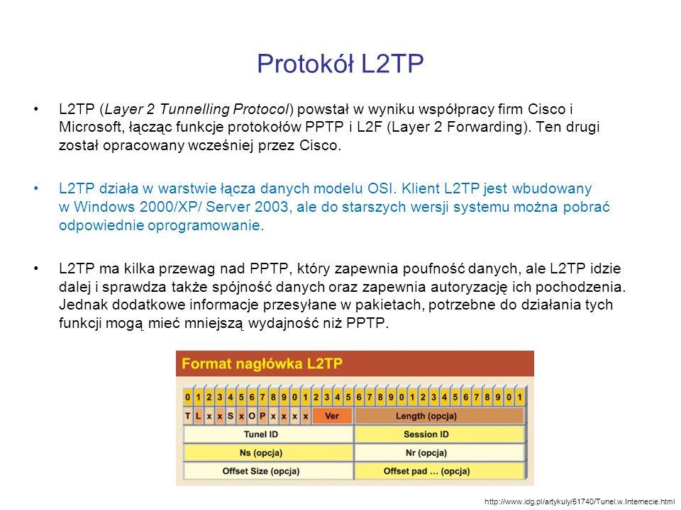 Protokół L2TP L2TP (Layer 2 Tunnelling Protocol) powstał w wyniku współpracy firm Cisco i Microsoft, łącząc funkcje protokołów PPTP i L2F (Layer 2 For