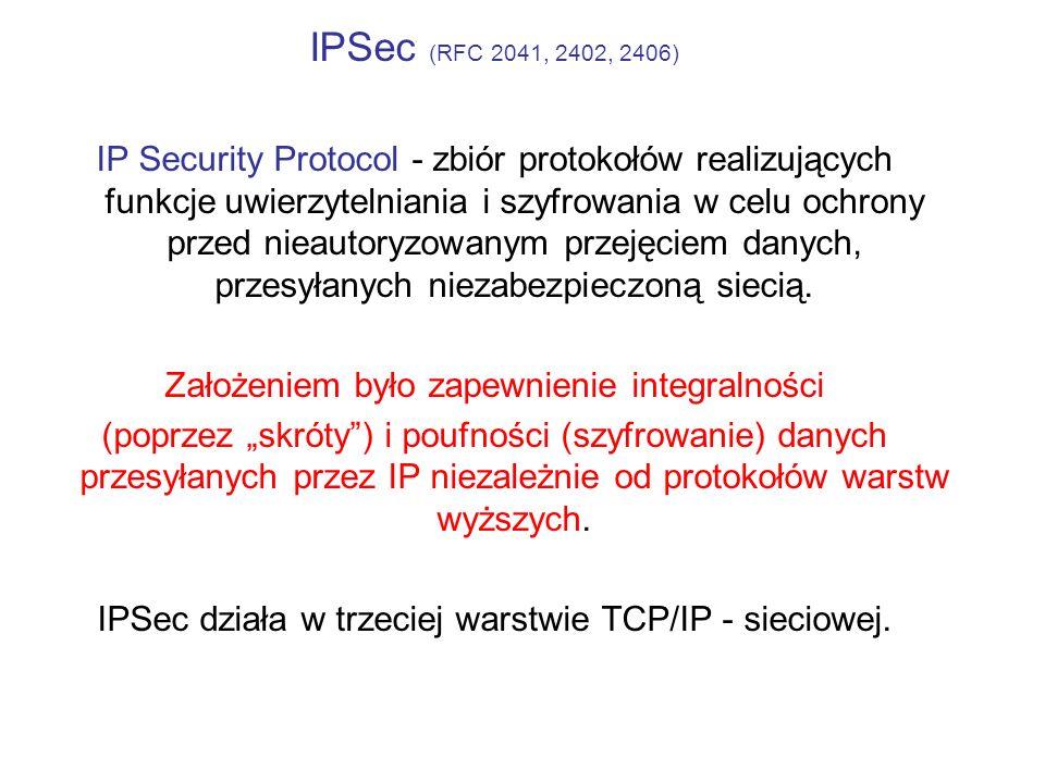 IPSec (RFC 2041, 2402, 2406) IP Security Protocol - zbiór protokołów realizujących funkcje uwierzytelniania i szyfrowania w celu ochrony przed nieauto