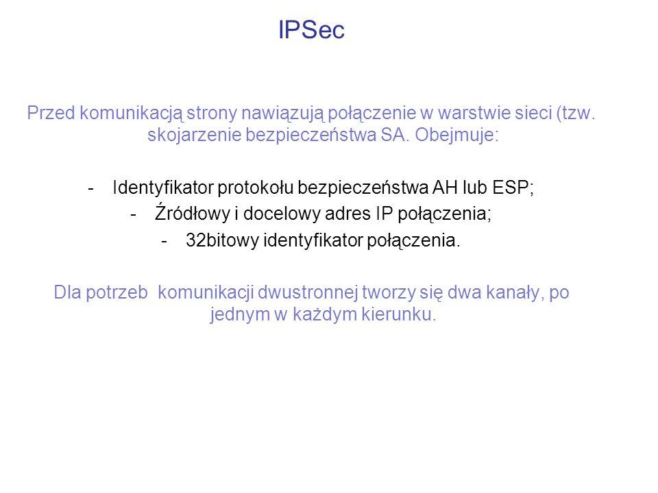 IPSec Przed komunikacją strony nawiązują połączenie w warstwie sieci (tzw. skojarzenie bezpieczeństwa SA. Obejmuje: -Identyfikator protokołu bezpiecze