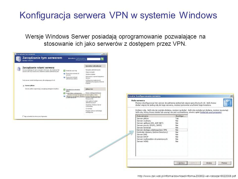 Konfiguracja serwera VPN w systemie Windows http://www.zsk.wsti.pl/informa/download/informa-200802-ver-robocza18022008.pdf Wersje Windows Serwer posia