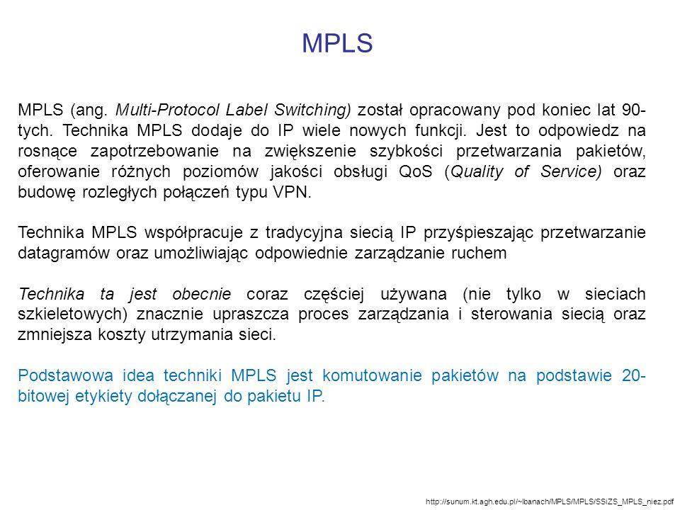 http://sunum.kt.agh.edu.pl/~lbanach/MPLS/MPLS/SSiZS_MPLS_niez.pdf MPLS (ang. Multi-Protocol Label Switching) został opracowany pod koniec lat 90- tych