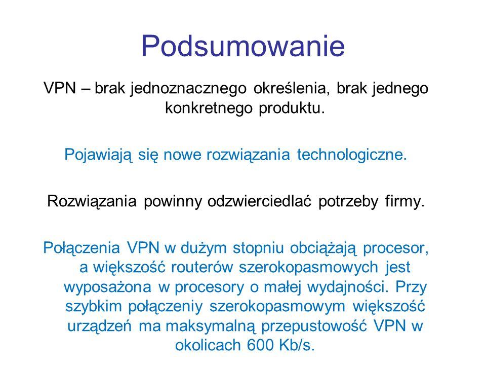 Podsumowanie VPN – brak jednoznacznego określenia, brak jednego konkretnego produktu. Pojawiają się nowe rozwiązania technologiczne. Rozwiązania powin