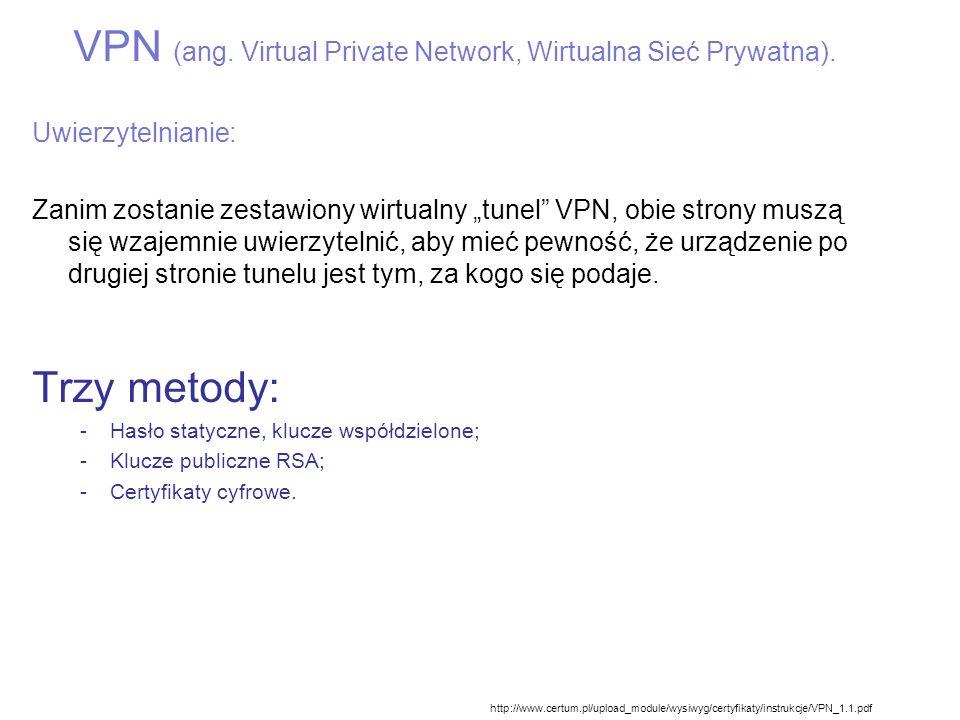 Secure Socket Layer – skuteczne rozwiązanie zastępcze dla VPN dla niewielkich sieci SSL obsługuje następujące funkcje: Uwierzytelnianie serwera SSL (tożsamość weryfikowana na podstawie zaufanych certyfikatów (urzędów certyfikacji CA) Opcjonalne uwierzytelnianie klienta SSL (sprawdzanie tożsamości klienta za pomocą certyfikatówCA), stosowane rzadziej.