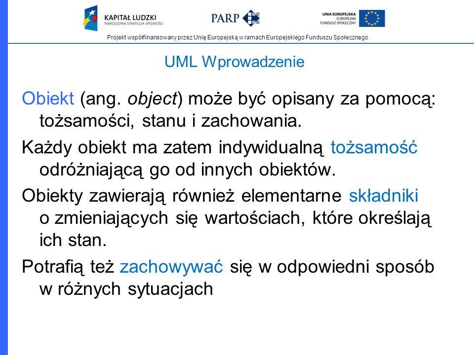 Projekt współfinansowany przez Unię Europejską w ramach Europejskiego Funduszu Społecznego UML Wprowadzenie Obiekt (ang. object) może być opisany za p