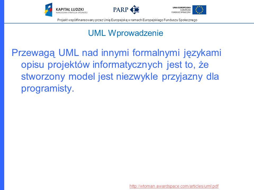 Projekt współfinansowany przez Unię Europejską w ramach Europejskiego Funduszu Społecznego UML Wprowadzenie Przewagą UML nad innymi formalnymi językam