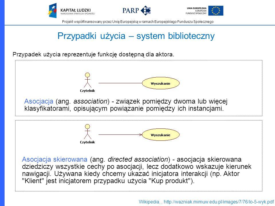 Projekt współfinansowany przez Unię Europejską w ramach Europejskiego Funduszu Społecznego Przypadki użycia – system biblioteczny Przypadek użycia rep