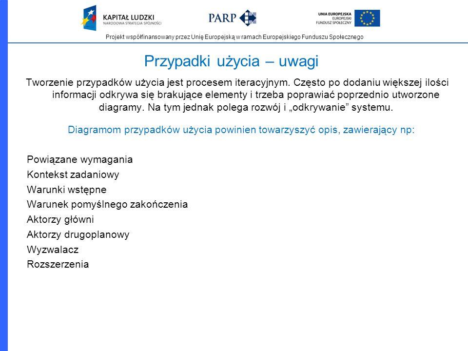 Projekt współfinansowany przez Unię Europejską w ramach Europejskiego Funduszu Społecznego Przypadki użycia – uwagi Tworzenie przypadków użycia jest p
