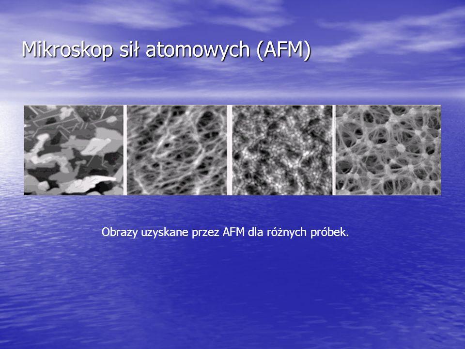 Mikroskop sił atomowych (AFM) Obrazy uzyskane przez AFM dla różnych próbek.